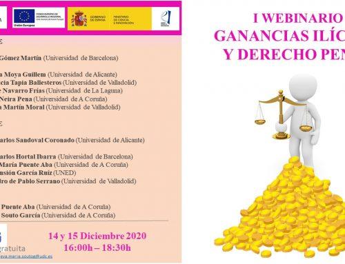 """Webinar """"Ganancias ilícitas y Derecho penal"""": 14-15 diciembre"""